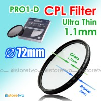 72mm Ultra Thin Pro1-D CPL Circular Polarizer Filter Lens 1.1mm Glass