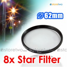 62mm 8 Point Star Light Filter Lens Flare Cross 8PT Eight Point