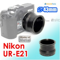 UR-E21 - JJC Nikon Metal Lens Filter Adapter Kit 43mm Coolpix P6000