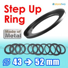 Metal Step Up 43mm to 52mm Filter Ring Adapter Mount 43-52mm