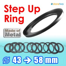 Metal Step Up 43mm to 58mm Filter Ring Adapter Mount 43-58mm