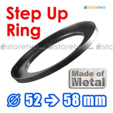 Metal Step Up 52mm to 58mm Filter Ring Adapter Mount 52-58mm