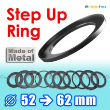 Metal Step Up 52mm to 62mm Filter Ring Adapter Mount 52-62mm