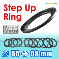 Metal Step Up 55mm to 58mm Filter Ring Adapter Mount 55-58mm