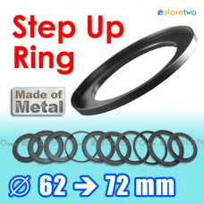 Metal Step Up 62mm to 72mm Filter Ring Adapter Mount 62-72mm