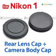 BF-N1000 LF-N1000 - JJC Nikon 1 Camera Body + Rear Lens Cap Cover Set