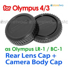 BC-1 LR-1 - JJC Olympus 4/3 Four Third Camera Body + Rear Lens Cap Set