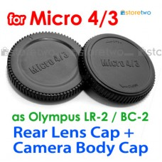 BC-2 LR-2 - JJC Olympus Micro 4/3 Camera Body + Rear Lens Cap Set