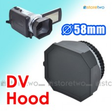 58mm Square Screw-in Lens Hood for DV Camcorder w/ Cap & Keeper Strap