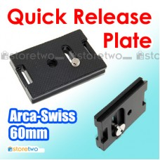 60mm Black Anodized Aluminum Quick Release Plate Arca Swiss Wimberley