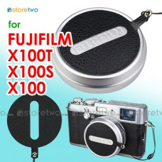 Fujifilm X100 Nappa Leather Lens Cap Keeper Strap Self Adhesive Black