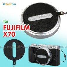 Fujifilm X70 Nappa Leather Lens Cap Keeper Strap Self Adhesive Black