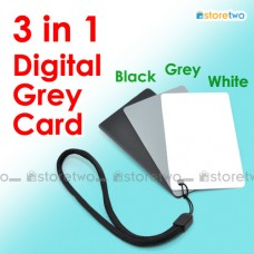 3 in 1 Digital Grey Card White Black 18% Gray Color White Balance