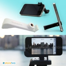 iPhone 4S 4 White 2-in-1 Rubber Stand Camera Tripod Mount Holder Glif