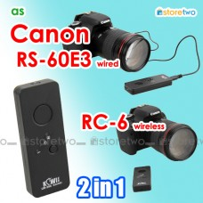 2 in 1 Canon RC-6 RS-60E3 Wireless Remote Wired Shutter 7D 77D M5 G5 X